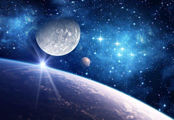 Carta da Parati in Vinile Sfondo con un pianeta, Luna e Stella - Universo