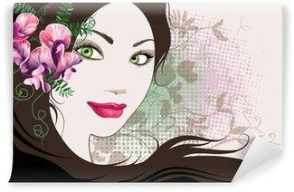 Carta da Parati in Vinile Sfondo decorativo con volto di donna e fiori di pisello dolce.