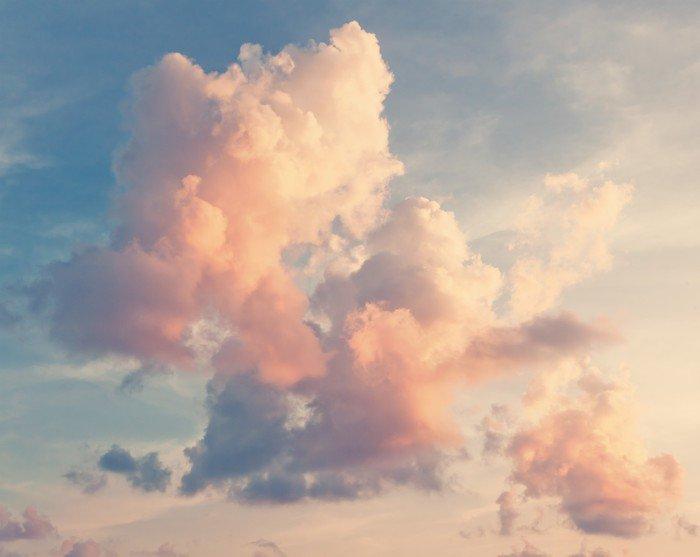 Carta da Parati in Vinile Sfondo del cielo soleggiato in stile vintage retrò - Relax