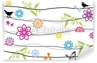 Carta da Parati in Vinile Sfondo disegno floreale con uccelli
