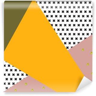 Carta da Parati in Vinile Sfondo geometrico in stile retrò.