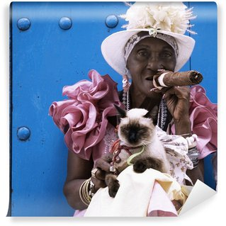 Carta da Parati in Vinile Sigaro cubano signora
