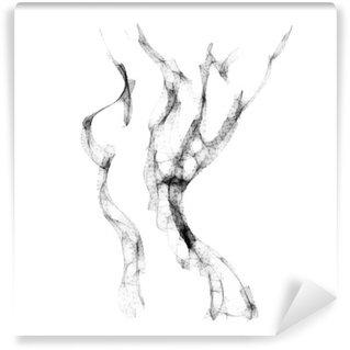 Carta da Parati in Vinile Silhouette di bella illustrazione vettoriale donna nuda
