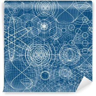 Carta da Parati in Vinile Simboli geometria sacra ed elementi di carta da parati seamless