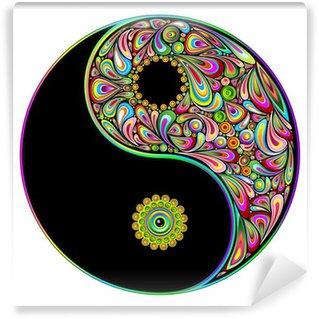 Carta da Parati in Vinile Simbolo del Tao Psychedelic Art Design-Simbolo psichedelico