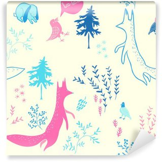 Carta da Parati in Vinile Simpatici animali nella foresta. Seamless pattern. illustrazione disegnata a mano con la volpe, coniglio, uccelli e gli elementi floreali. Natural design sfondo vettoriale.