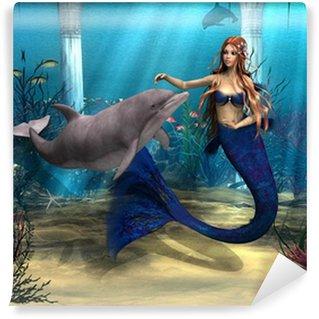 Carta da Parati in Vinile Sirena e Dolphin