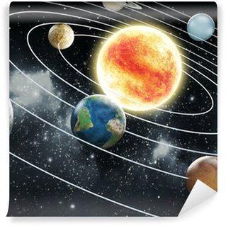 Carta da Parati in Vinile Sistema solare, illustrazione