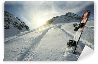 Carta da Parati in Vinile Snowboard in montagna