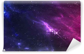 Carta da Parati in Vinile Spazio profondo. illustrazione vettoriale di nebulosa cosmica con ammasso di stelle.