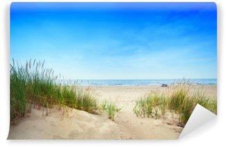 Carta da Parati in Vinile Spiaggia calma con dune ed erba verde. oceano tranquillo