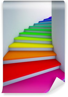 Carta da Parati in Vinile Spirale scala colorata per il futuro.
