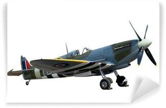 Carta da Parati in Vinile Splendidamente ristrutturato annata WW2 Spitfire isolato su bianco