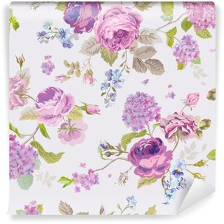 Carta da Parati in Vinile Spring Flowers Background - Seamless Floral Shabby Chic Motivo