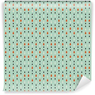 Carta da Parati in Vinile Struttura senza giunte. Autunno. Rappresenta le gocce di pioggia tre colori: beige, nero e rosso. Gocce su uno sfondo blu.