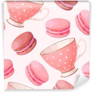 Carta da Parati in Vinile Tazze da tè e macarons senza soluzione di continuità