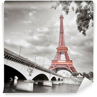 Carta da Parati in Vinile Torre Eiffel in bianco e nero colorazione selettiva