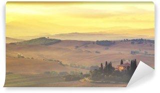 Carta da Parati in Vinile Toscana paesaggio autunnale, i colori retrò, annata