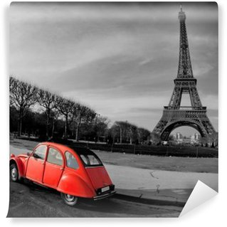 Carta da Parati in Vinile Tour Eiffel et voiture rouge-Parigi