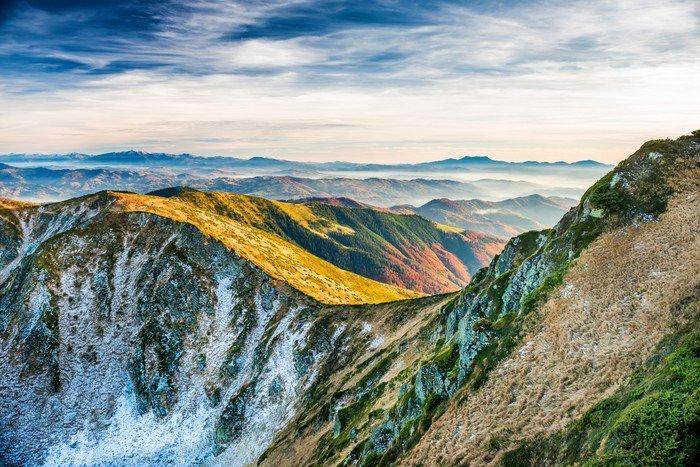 Carta da parati in vinile tramonto in montagna pixers for Carta da parati per casa in montagna