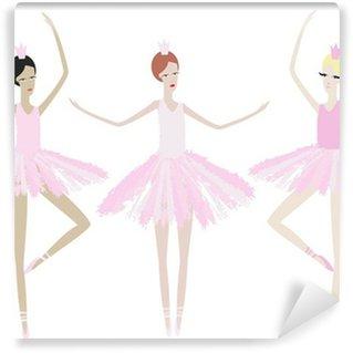 Carta da Parati in Vinile Tre aggraziata danza ballerine in abiti identici