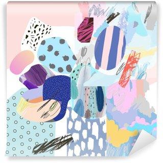 Carta da Parati in Vinile Trendy collage creativo con diverse texture e forme. graphic design moderno. opere d'arte insolita. Vettore. Isolato