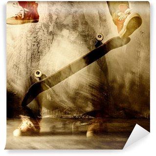 Carta da Parati in Vinile Trucco Skateboard in movimento