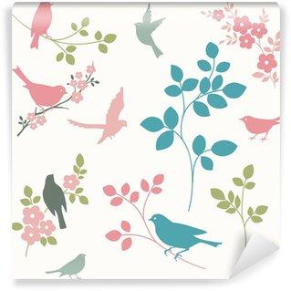 Carta da Parati in Vinile Uccelli e ramoscelli