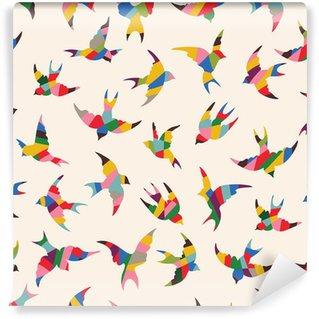Carta da Parati in Vinile Uccelli Seamless pattern primavera