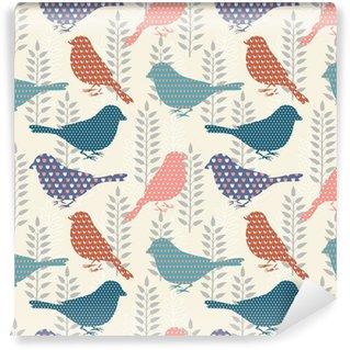 Carta da Parati in Vinile Uccelli seamless pattern
