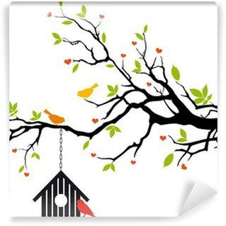 Carta da Parati in Vinile Uccello casa di primavera albero, vettore