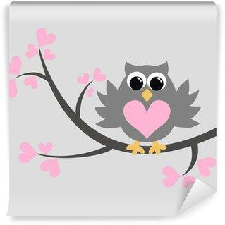 Carta da Parati in Vinile Un gufo grigio seduto su un albero