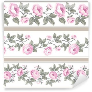 Carta da Parati in Vinile Un insieme di bordi floreali senza soluzione di continuità con le rose