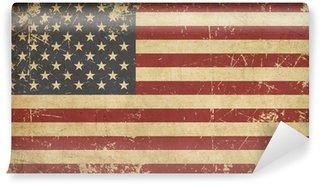 Carta da Parati in Vinile USA Invecchiato bandiera piatto