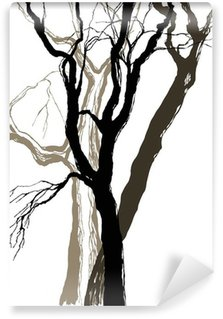 Carta da Parati in Vinile Vecchi alberi di disegno grafico, disegno