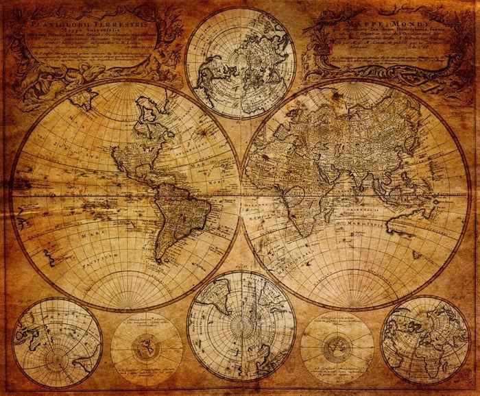 Carta da parati in vinile vecchia mappa 1746 pixers for Carta parati vinile