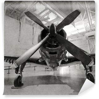 Carta da Parati in Vinile Vecchio aeroplano in un hangar