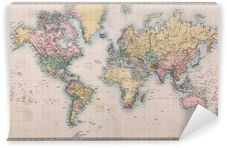 Carta da Parati in Vinile Vecchio Antique World Map su Mercator Projection