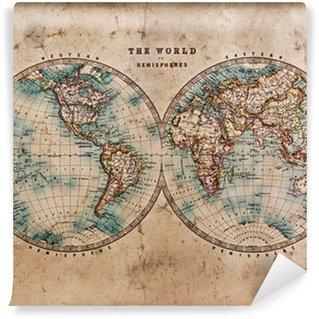 Carta da Parati in Vinile Vecchio Mappa del mondo in Emisferi