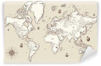 Carta da Parati in Vinile Vecchio mappa dettagliata alta al mondo con elementi decorativi