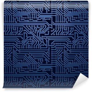 Carta da Parati in Vinile Vector circuito bordo blu di sfondo