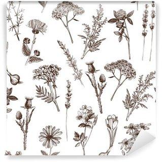 Carta da Parati in Vinile Vector seamless con inchiostro mano disegnata medicinali schizzo erbe