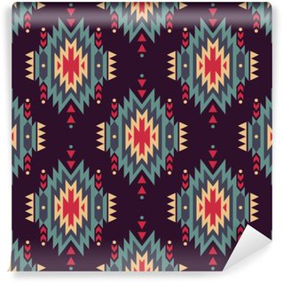 Carta da Parati in Vinile Vector seamless etnica decorativo. motivi indiani d'America. Sfondo con azteco ornamento tribale.