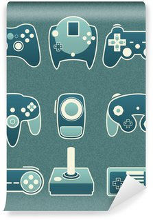 Carta da Parati in Vinile Vector Set: Retro Video Game Telecomandi