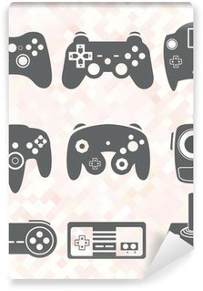 Carta da Parati in Vinile Vector Set: Video Game Controller Silhouettes