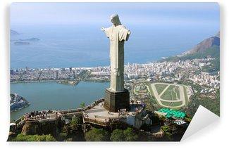 Carta da Parati in Vinile Veduta aerea di Cristo Redentore Monumento e Rio De Janeiro