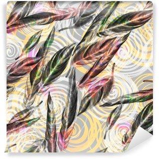 Carta da Parati in Vinile Vegetazione tropicale seamless. foglie acquerello colorato di pianta esotica Calathea Whitestar sul disegno geometrico a spirale, effetto miscelati. stampa tessile.