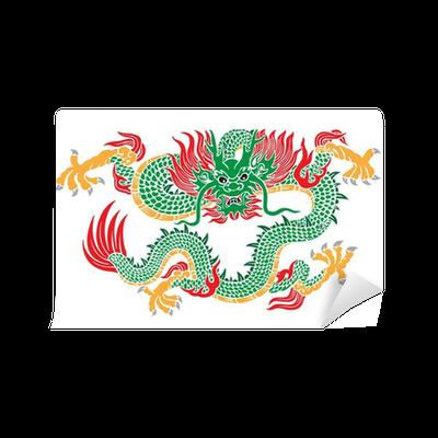 Carta da parati verde vettore drago cinese pixers for Carta da parati cinese