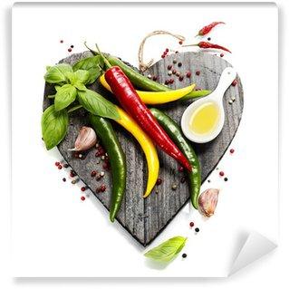Carta da Parati in Vinile Verdure fresche sul tagliere a forma di cuore