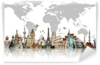 Carta da Parati in Vinile Viaggia per il concetto di monumenti mondo